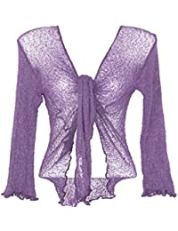 Bolero Morado chaleco manga larga Cardigan Cache c & # x153; ur Boléro Purple