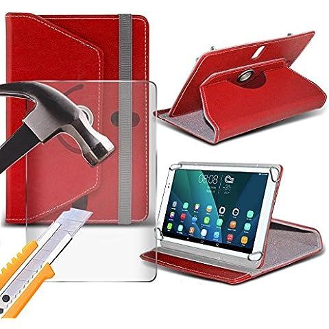 (Rosso) Sony Xperia Z4 Tablet [10 pollici ] caso [Copertura del supporto] per Sony Xperia Z4 Tablet [10 pollici ] Tablet PC Case Cover Tablet [Copertura del supporto] sintetica resistente pelle PU 60 Roatating coprire caso [Copertura del supporto] con 4 molle originali con vetro temperato di protezione per lo schermo da mi- Tronixs® - Elegante Fascia Molle Del Silicone
