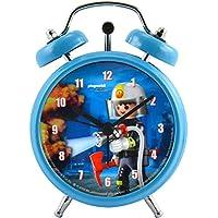 Playmobil City - Reloj Despertador Infantil, diseño de Bomberos, diámetro: Aprox. 7,5 cm.