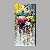 XIANRENGE 100% Puro Pintado A Mano Pintura Al Óleo Día Lluvioso Paraguas Multitud Cuerpo Humano