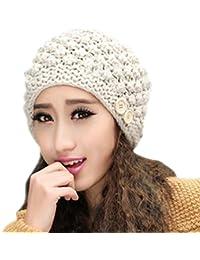 Smarstar Bonnet épais tricoté à pompon pour Femme Béret Femme Chapeau Fille Hiver Chaud Tricotage Crochet Bonnet