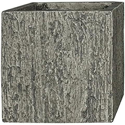 PFLANZWERK® Vaso da fiori Lana di vetro CUBE Wood Grigio 38x44x44cm XXL *Resistente al gelo* *Protezione UV* *Europea di qualità* - Granito Pietra Vaso