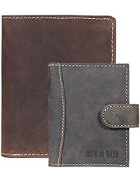 Hide & Sleek Men Hunter Brown Leather Wallet & Card Holder. Pack Of 2