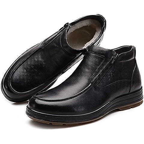 bota de lana de la piel/Medio anti-resbalando y ancianos edad caliente botas de algodón/ zip zapatos del