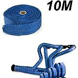 Kit de Rollo de Cinta Anticalorica Titanio para Colectores de Escape con clips (Azul, 10 metros)