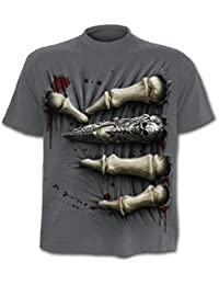 Spiral T-shirt pour homme Inscription Death Grip Gris anthracite