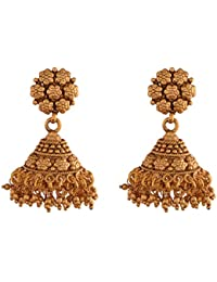 Ganapathy Gems 1Gram Gold Plated Jhumki With Golden Drops (8385)