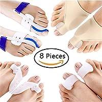 8 UNIDS/CONJUNTO Hallux Valgus Corrector Alineación Separador de dedos Alivio del dolor Cuidado de los pies