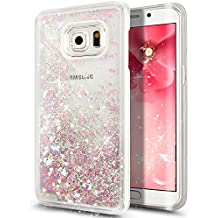 Galaxy S6Edge Plus Funda, Galaxy S6Edge Plus ikasus [líquido Bling], diseño creativo fluye líquido flotante Lujo Bling Corazón con purpurina Carcasa para Samsung Galaxy S6Edge Plus