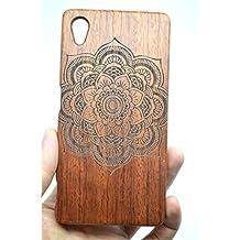 Holzsammlung® Sony Xperia Z5 Premium Funda de Madera - Mandala flor de palo de rosa - Natural Hecha a mano de Bambú / Madera Carcasa Case Cover