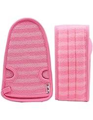 e1f2fd008d4bf 2 DOUX bain Gants Mitaines exfoliantes de bain Ceintures pour femmes, ROSE