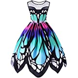 Women Dress ,Letdown, Butterfly Printing Sleeveless Party Vintage Swing Lace Dress (S)