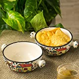 ExclusiveLane 'The Hut Handled Bowls'' Hand-Painted Ceramic Bowls (Set Of 2) - Salad Bowl Soup Bowl Ceramic Snacks Serving Bowl Decorative For Dining Table Rice Maggi Bowl Set For Kitchen Dinner Bowls