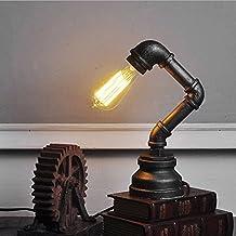 Glighone Lámpara de Mesa Luz de Tubo Lámpara Vintage 60W Lámpara Antigua Luz Industrial y Rústica Edison Casquillo E27 Lámpara Sujetada para Escritorio y Lectura, Color Negro