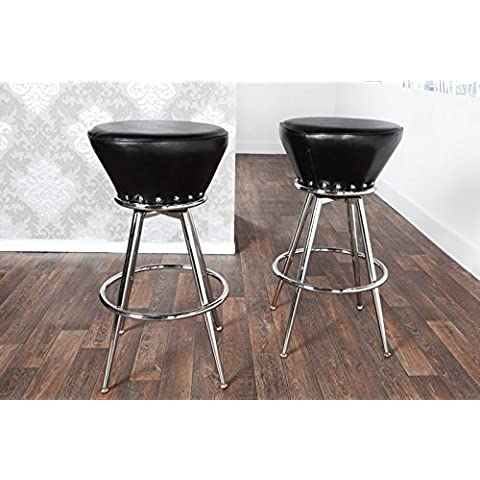 Casa Padrino designer barstool artificial leather black, padded barstool (Leather Club Chair)