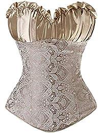 Lover-Beauty Corsé Mujer Fiesta Encaje Vintage Elegante Ajustado Bustier Mujer Elegante Sexy S-