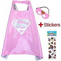 Super Girl Rosa Super Woman Cape y máscara - Super Héroes de disfraces para niños - Disfraz para niños de 3 a 10 años - para Super Held Fiestas. Juguetes para niña - King Mungo - kmsc019