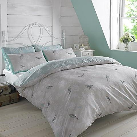 Dreamscene–Juego de funda nórdica con funda de almohada de jaula de pájaros de lujo, poliéster/algodón, luz azul, único
