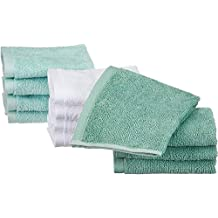 AmazonBasics Cotton Washcloths - 12-Pack, Seafoam Green, Ice Blue, White