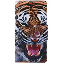 Billetera PU Cuero Funda para Sony Xperia M2 Ligero, Animal Pintura Tigre