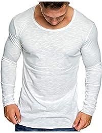 SanKidv-Freizeithemd Herren Langarmshirt Mode Langarm Casual Solid Reine  Farbe Dünnes Hemd Top Bluse a2f72dc05a