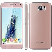 "Landvo S7 - Smartphone libre Android (Pantalla 5.0"", 16GB ROM, 1GB RAM, Quad-Core 1.3GHz, Camara 5.0 Mp, Dual SIM, GPS, WIFI), Oro rosado"