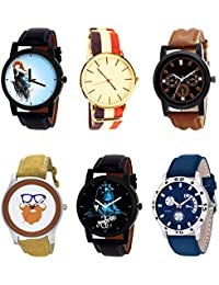 NIKOLA Brand New Designer Mahadev Beard Style Black Blue And Brown Color 6 Watch Combo (B22-B50-B30-B54-B23-B56...