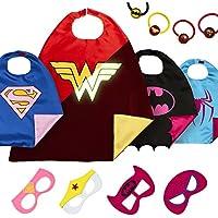 LAEGENDARY Halloween Disfraz de Superhéroes para Niño - Regalos de cumpleaños para niña - 4 Capas y Máscaras - Juguetes para Niños y Niñas - Logo Brillante de Wonder Woman