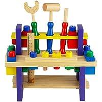 Herramientas Juguetes de Madera del Banco de Trabajo Bloques Construccion Taller Kit Herramientas Juegos Educativos para Niños 3 4 5