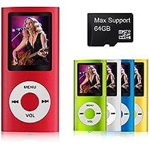 mymahdi–Digital, compacto y portátil MP3/MP4reproductor (Max apoyo 64GB Micro SD Card) con visor de fotos, e-book lector y grabadora de voz y radio FM VIDEO película en color rojo