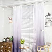 Nibesser Transparent Farbverlauf Gardine Vorhang Schlaufenschal Deko Für  Wohnzimmer Schlafzimmer (245cmx140cm, Weiß Und Lila