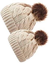 2 Pièces Chapeau Parent-Enfant Bonnet Chaud Tricoté d Hiver Chapeau Doux  Maman Bébé Ensemble Chapeau Extensible Bonnet Chapeau… 8aa457a64c5