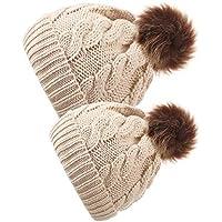 2 Pièces Chapeau Parent-Enfant Bonnet Chaud Tricoté d Hiver Chapeau Doux  Maman Bébé 0a71f87a1e4