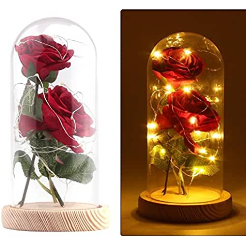 ofertas para el dia de la madre Rose Artificial Silk Sparkle Rose con pantalla de vidrio 20-LED Strip light Gran regalo para el día de San Valentín Día de la madre Cumpleaños de Navidad (Rojo)