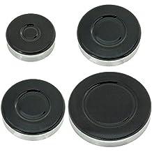 Spares2go kit de corona para el mechero de gas y tapa para la llama para la encimera del horno de cocina Indesit (1 pequeño, 2mediana y 1 grande)