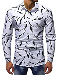 BUSIM Men's Long Sleeve Shirt Fashion Branch Pattern Print Casual Cotton Slim Personality T-Shirt Buttons Lapel...