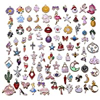 100pcs Alloy Enamel Cute Mix Shape Mermaids Animals Girls Charm Pendant DIY Jewelry Making Ear Hook Bracelet Necklace Christmas Decoration