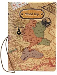 Mapa del mundo de piel sintética jiaqinsheng–Funda para pasaporte ID tarjeta paquete billete bolsa de viaje nuevo
