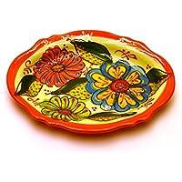 VASSOIO OVALE in ceramica fatto e dipinto a mano con decorazione flor 18,5 cm x 14 cm 18,5 cm x 14 cm (NARANJA)