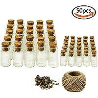 Goodlucky365 25pz 1ml + 25pz 5ml Piccole Bottiglie Mini di Vetro con Tappi di Sughero, 50pz viti a occhiello & Spago 30 Metri, bottiglie messaggi