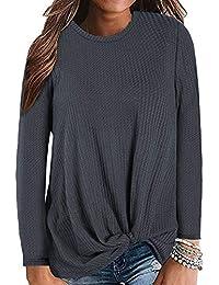 Foobrues Damen Langarm Pullover Lässige Rundhals Lose Bluse Shirt Sweatshirt Oberteil Oversize Tops