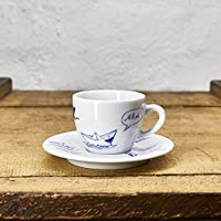 Espresso Tasse / Untertasse maritimes Design Papierschiffe - Porzellan blau-weiss von Ahoi Marie