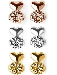 XinGe Magic Bax Earring Lifters, 3 Pares Earring Backs Elevadores de pendientes ajustables Se adapta a todos los Pendientes (Astilla, Oro, Oro Rosa)