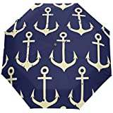 JSTEL Windproof Umbrella Compact Auto Open & Close - Anchors Pattern Easy Carrying Travel Stylish Lightweight Design For Women & Men