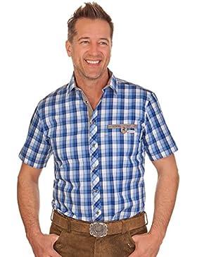 Trachtenhemd mit 1/2-Arm - FREDDY - blau, grün