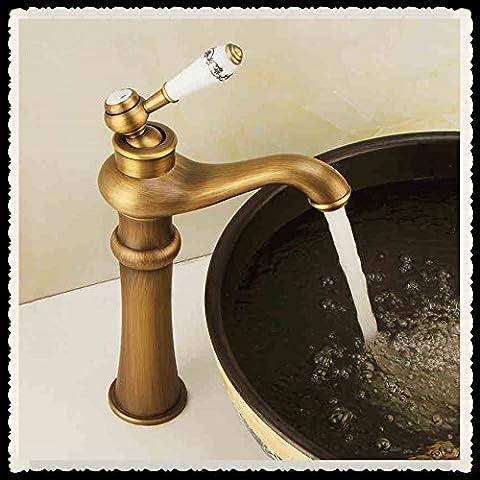 Furesnts Casa moderna cocina y lavabo grifos grifo mezclador Retro-Basin antiguos la lámpara mágica, Mezclador de un solo orificio de bronce(Estándar G 1/2 puertos manguera Universal)