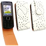 Emartbuy Nokia C1-01 Diamante Premium White / Tan Flip Case/Cover/ Pouch