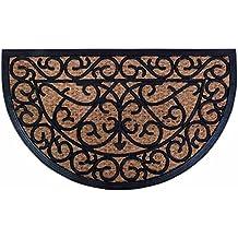 Esschert Design, Felpudo de goma/Cocos clavijas para fijación, RB07, caucho y del tejido de fibra de coco, 75 x 45 x 1-