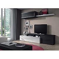 Habitdesign Nexus 016667G, Mueble de salón, comedor moderno, medidas: 44x 200x 41cm, Blanco Brillo y Gris Ceniza