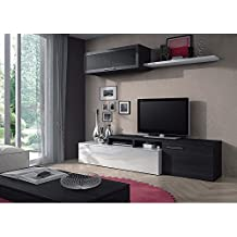 Basic Home Nexus, Muebles para sala de estar, Multicolor (Blanco Brillo/Gris Ceniza)